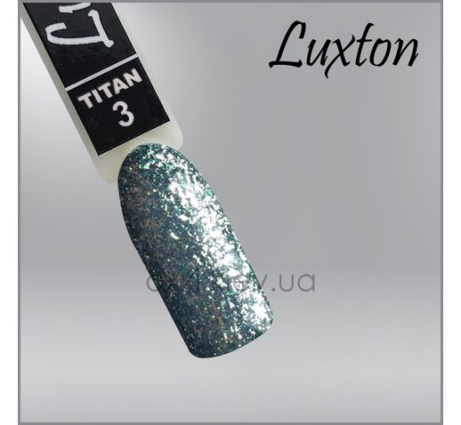 Гель-лак LUXTON Titan 003 бирюза с блестками, 10мл