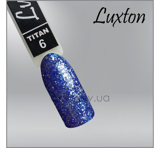 Гель-лак LUXTON Titan 6 синий с блестками, 10мл