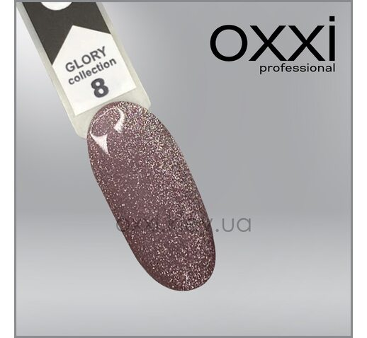 Гель-лак Glory Oxxi 8, мягкий розовый с шиммерами, магнитный, 10мл