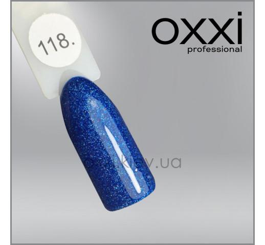 Гель-лак Oxxi 118 синий с мелкими бирюзовыми блестками, 10мл