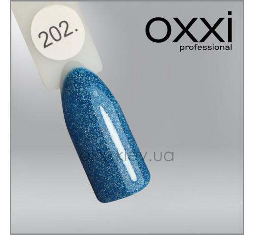 Гель-лак Oxxi 202 сине-бирюзовый с насыщенными голографическими блестками, 10мл