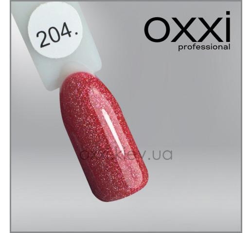 Гель-лак Oxxi 204 светлый красный с мелкими голографическими блестками, 10мл
