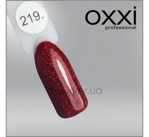 Гель-лак Oxxi 219 красно-бордовый, с блестками, 10мл