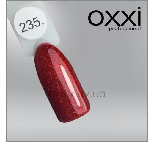 Гель-лак Oxxi 235 красный, глиттерный, 10мл