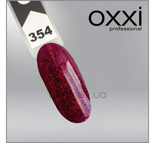 Гель-лак Oxxi 354, винное бордо с красными блестками, 10мл
